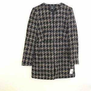 Nine West Jacket Coat Black Beige Houndstooth 8